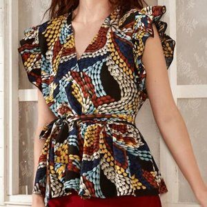 Colorful Ruffle Cut Belted Blouse in L